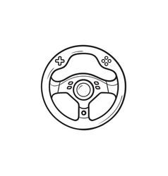 Gaming steering wheel hand drawn outline doodle vector
