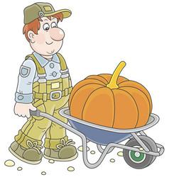 Gardener and pumpkin vector