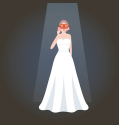 girl holding mask masquerade party wearing white vector image