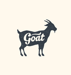 goat lettering design farm animals - goat vector image