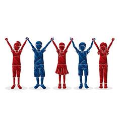 Group children holding hands cartoon vector