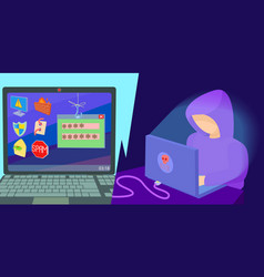 hacker horizontal banner cartoon style vector image