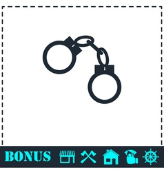 Handcuffs icon flat vector