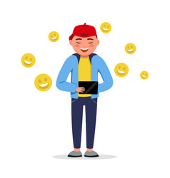 Happy boy with a tablet having chat with smile vector