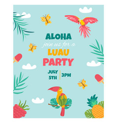 Invitation card with tropical elements birds vector