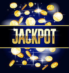 Jackpot header and coins - casino and win vector