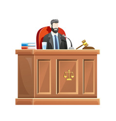 Judge sitting behind desk court in courthouse vector