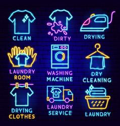 Laundry label set vector