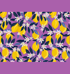 lemon fruits seamless pattern with flowers vector image