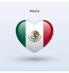 Love Mexico symbol Heart flag icon vector