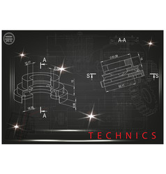 machine-building drawings on a black background vector image