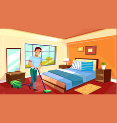 Man cleaning room with vacuum cleaner vector