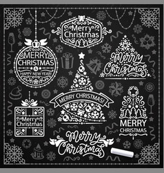 merry christmas design with chalk word art vector image