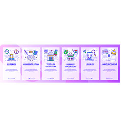 Mobile app onboarding screens education system vector