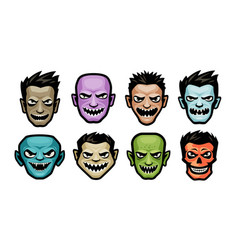 monsters set halloween concept cartoon vector image