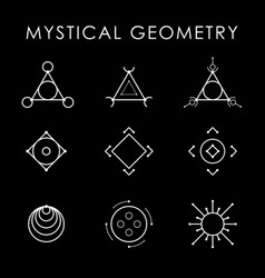 Mystical geometry white symbol set drawn in lines vector