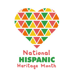 National hispanic heritage lettering in heart flat vector