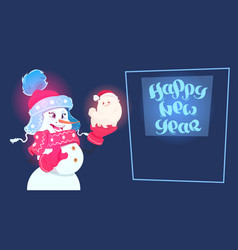new year 2018 decoration snowman hold cute dog vector image