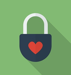 Padlock with heart Flat style icon vector image