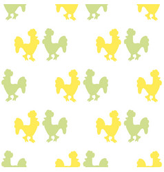 pattern of silhouettes of roosters vector image