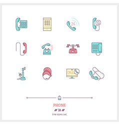 Phone Line Icons Set vector image