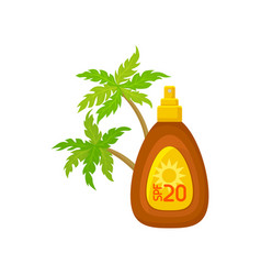 plastic bottle of sunblock lotion and palm trees vector image