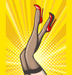 Pop art female legs in stockings and red shoes vector