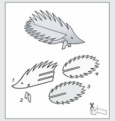 Porcupine from pieces paper vector