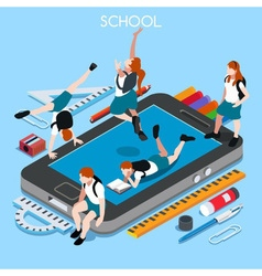 School Devices 01 People Isometric vector