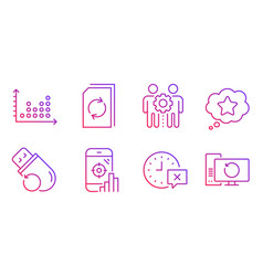 Seo phone update document and dot plot icons set vector