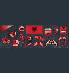 set national flag albania in vector image