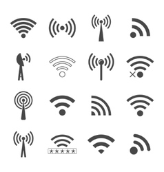 Set of different black wifi icons concept vector