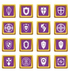 shields set icons set purple vector image