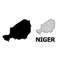 Solid and network map niger vector