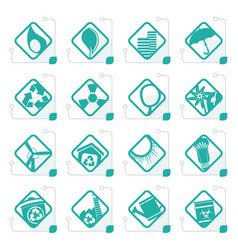 Stylized ecology icons vector