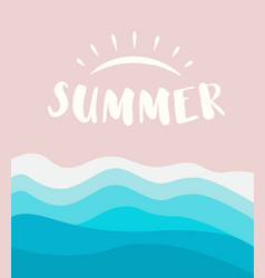 summer banner template with drawn sun logo concept vector image