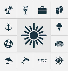 Sun icons set collection conch beach sandals vector