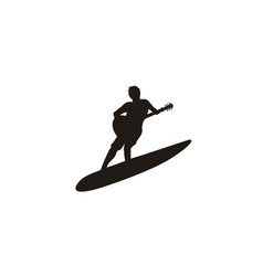 Surfer guitarist surf surfboard guitar music logo vector