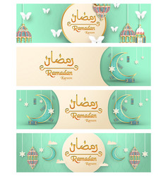 Template for ramadan kareem with green and gold vector