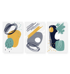 three cards setabstract geometric shape hand vector image