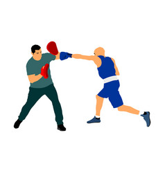 Trainer and boxer on sparring training vector