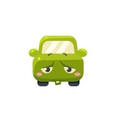 Upset Green Car Emoji vector image