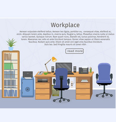 web design banner of office room workplace vector image
