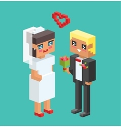 Wedding couples cartoon style vector