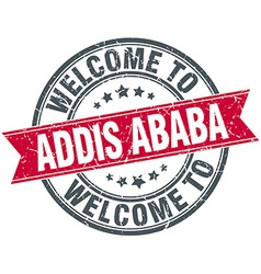 Welcome to Addis Ababa red round vintage stamp vector