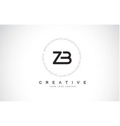Zb z b logo design with black and white creative vector