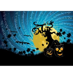 Halloween tree and pumpkins vector image vector image