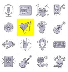 Line art music icons set Rock punk symbols vector image vector image