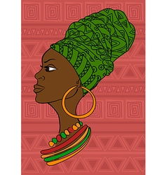 Portrait of beautiful African girl in a headscarf vector image vector image