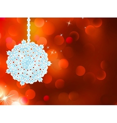 Red snowflake over bokeh background EPS 8 vector image